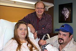 Baby Bryson, with parents Echo and Bryan and delivering physician Dr. Vande Zande
