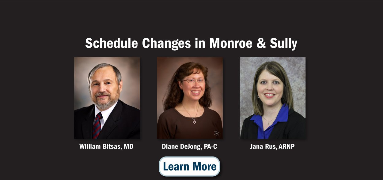 Schedule changes in Monroe and Sully