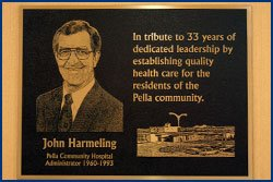 Harmeling Dedication Plaque at Pella Regional