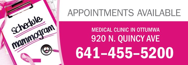 Schedule your mammogram now at our medical clinic in Ottumwa 641-455-5200